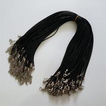 Atacado 100 pçs/lote 2mm preto cera couro corda cordão colares 45cm com lagosta fecho cordão cordão pingente para diy jóias