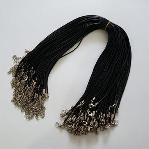 Image 1 - Hurtownie 100 sztuk/partia 2mm czarny wosk Leather cord rope naszyjniki 45cm z zapięciem Lobster smycz wisiorek liny dla diy biżuteria