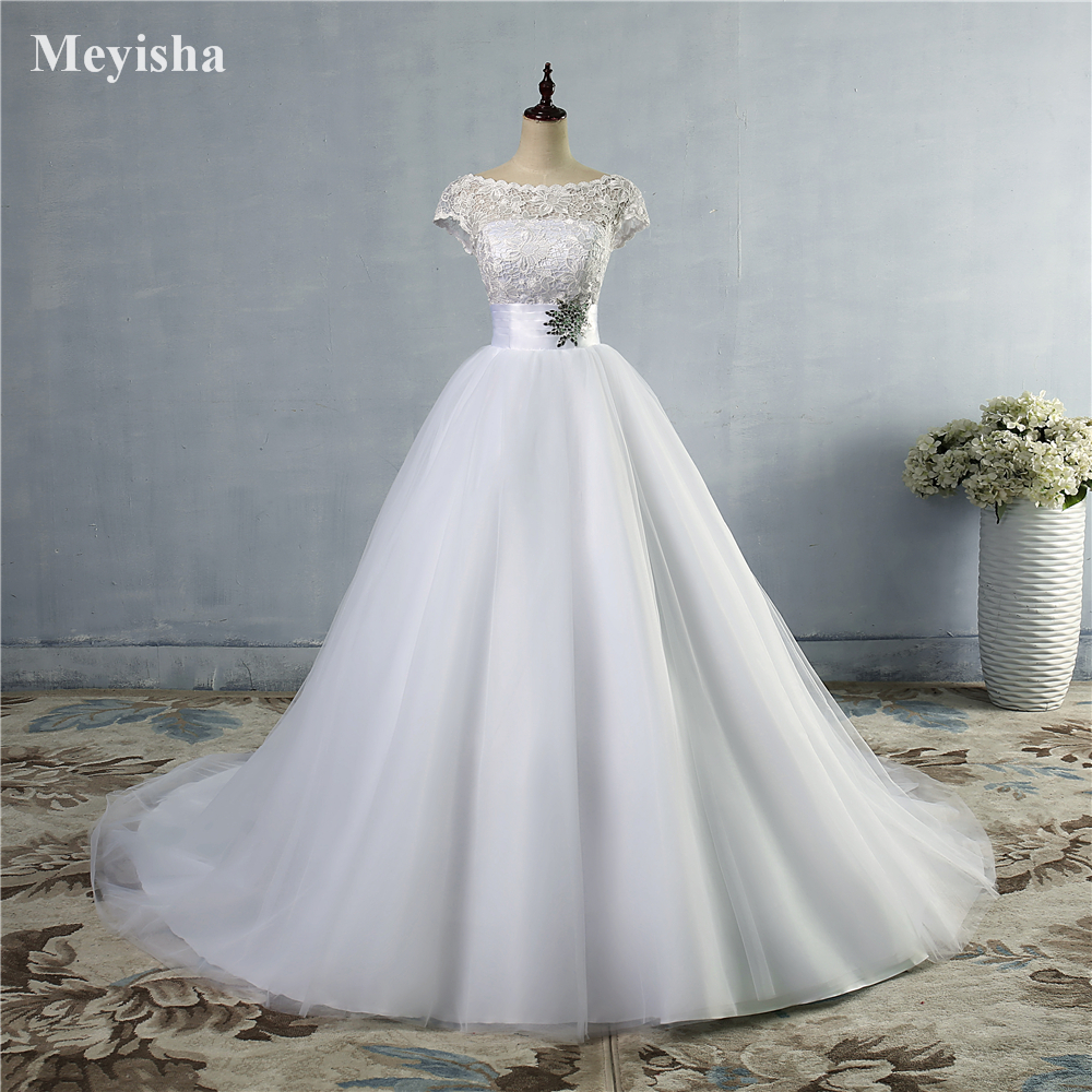 ZJ9033 2019 2020 Lace White Ivory Wedding Dresses Beaded Cap Sleeve Bride Dress With Train Plus Size 2-28W