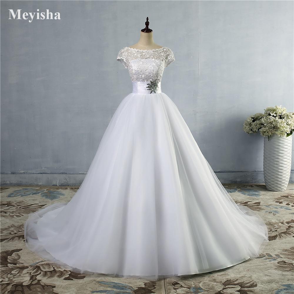 ZJ9033 2016 2017 Lace White Elfenbensklänning pärlstav Cap Sleeve brudklänning med tåg plus storlek 2-28W