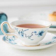 Европейский стиль костяного фарфора английский послеобеденный чай кофейная чашка блюдце маленькая Роскошная керамическая Цветочная чайная посуда Улун