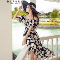 original 2018 brand summer puff sleeve fashion slash neck sexy long black big floral waisted dress women wholesale
