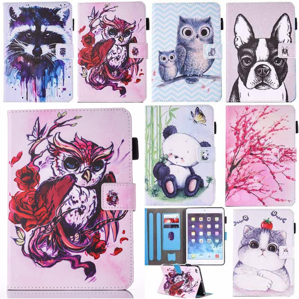 Cover for iPad mini 4 case Cute animal pattern PU leather flip case All-inclusive ultra-thin for iPad 7.9 inch stand case cover