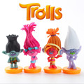 4pcs/set Cartoon Movie Trolls Dolls Poppy Branch PVC Figure Toys Dolls For Children # SJ170229