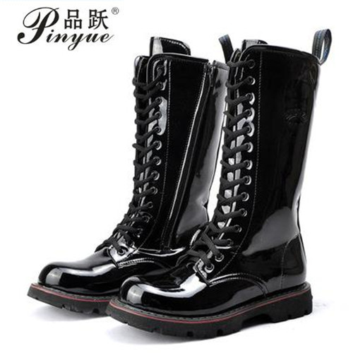 2018 Over Knee High Boots Mens Military Boots Natural Cow