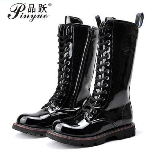 5f4450f2398 2018 botas altas por encima de la rodilla botas militares para hombre botas  de nieve impermeables de cuero Natural de vaca