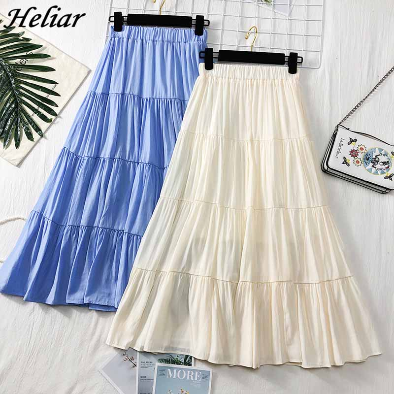Heliar 2019 Spring Women Skirt White Solid Skirt Romantic Style High Waist Midi Skirt Female Ruffled Casual A-line Soft Jupe
