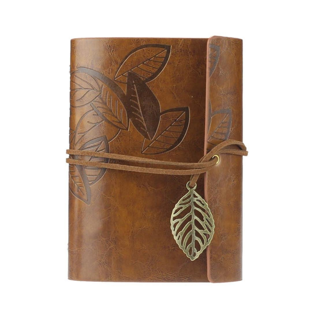 Affordable Vintage Leaf PU Leather Cover Loose Leaf Blank Notebook Journal Diary Pocket Size (Gray) mariyana vintage notebook journal diary magic key string retro leather note book diary notebook leaf leather cover blank