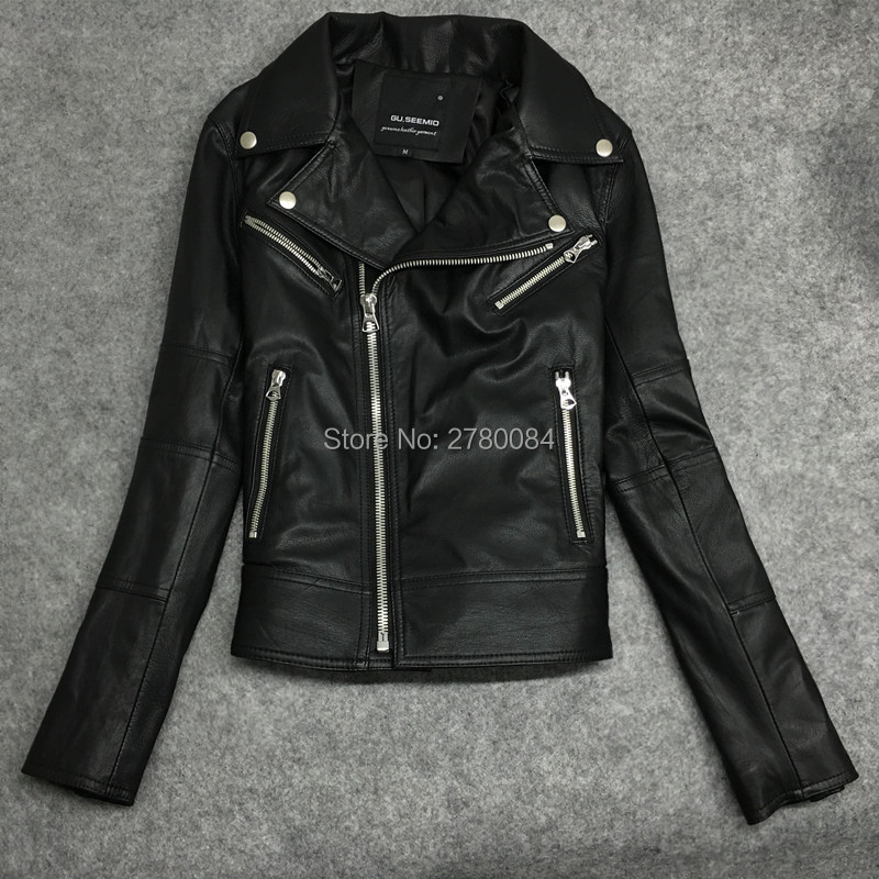 5e769f320 US $130.0  GU.SEEMIO sheep skin leather jacket for women genuine leather  jacket girl motorcycle coat outwear fashion real short suit-in Leather & ...