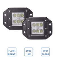 CREE 18W FLUSH MOUNT LED WORK LIGHT 12V 24V Rear Fog Lamp 4X4 Offroad Trailer Truck