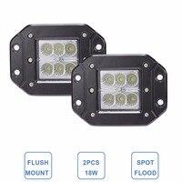 CREE 18W FLUSH MOUNT LED WORK LIGHT 12V 24V Rear Fog Lamp 4X4 Offroad Trailer Truck