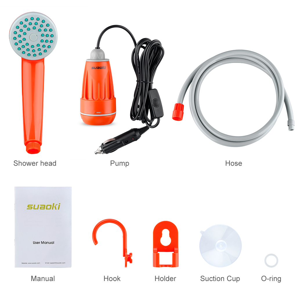 Suaoki Outdoor Handheld Portable Shower with Showerhead,1.8M Hose ...
