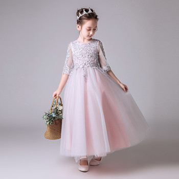 White Embroidery Flowers Girls Dress For Birthday Wedding Tulle Long Dress Children Kids Christmas Princess Costume Dress3~15T
