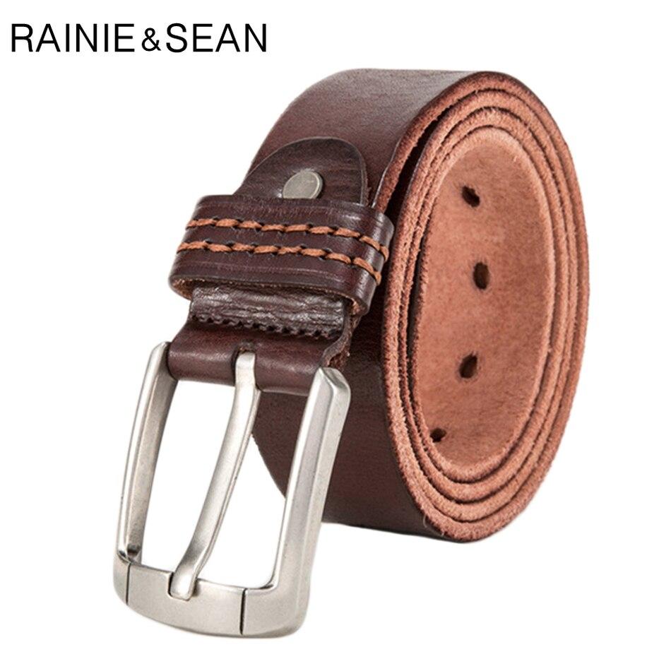 Mens Pin Buckle Belt,Genuine Leather Casual Jean Trouser Retro Belt