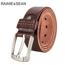 RAINIE SEAN Pin Buckle Leather For Trousers Vintage Belts Male Brand Coffee Cowhide Genuine Classic Jeans Belt Man