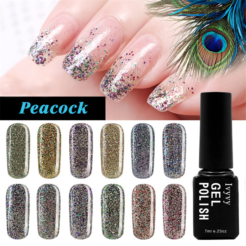 12 Colors/Set Fashion Women Peacock Series Gel UV LED Glitter Lacquer Polish Manicure 7m ...