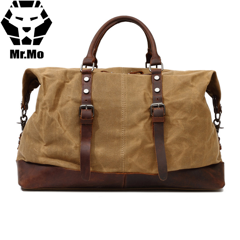 Vintage military Canvas Leather men travel bags Carry on Luggage bags Men Duffel bags travel tote large weekend Bag Overnight men travel bags military canvas duffle bag large capacity bag luggage weekend bag vintage designer carry on overnight tote bags