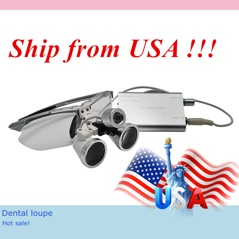 Hot Sale! Dental equipment Surgical Medical Silver dental glasses 3.5X 420mm+LED Head Light Lamp Headlight Dental loupes hot sale g7 dental equipment surgical dental glasses 3 5x 420mm led head light lamp dental lab blue aa medical dental loupes