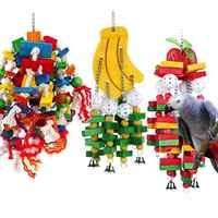Parrot Toys Bird Swing Toys with Colorful Wood Beads , bananas and apples bunches for Budgie Lovebirds Conures birds toys