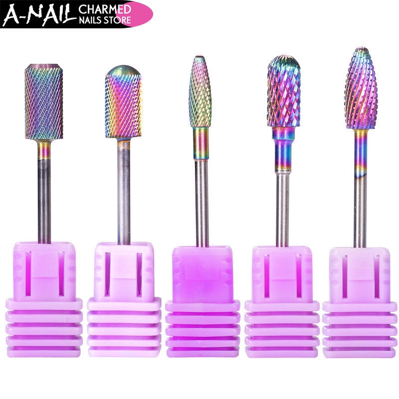 цена на 1pc 5 Types Rainbow Coating Tungsten Carbide Burrs Nail Drill Bit Metal Bits For Manicure Drill Accessories Milling Cutte tools