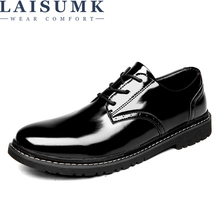 LAISUMK 2019 New Men Leather shoes Casual Fashion High Quality Lace up Brand Soft