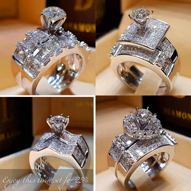 Boho Female Crystal Zircon Wedding Ring Set Fashion 925 Silver Big Stone Finger Ring Promise Bridal Engagement Rings For Women