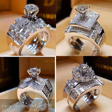 Boho Female Crystal Zircon Wedding Ring Set Fashion 925 Silver Big Stone Finger Ring Promise Bridal Engagement Rings For Women(China)