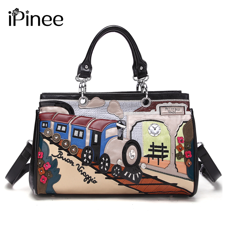 iPinee Printing Cartoon Women Shoulder Bag Italy Braccialini Handbag Retro Handmade Bolsa Feminina Famous Luxury Designer Bolsos famous brand women canvas bags shoulder bag italy handbag style retro handmade bolsa feminina braccialini for ladies mexico bags