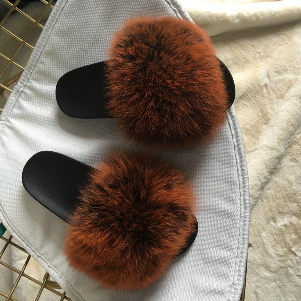 56123bbc1 Thick thin bottom Women Fur Slippers Luxury Real Fox Fur Beach Sandal Shoes  Fluffy real Furry casual women slippers