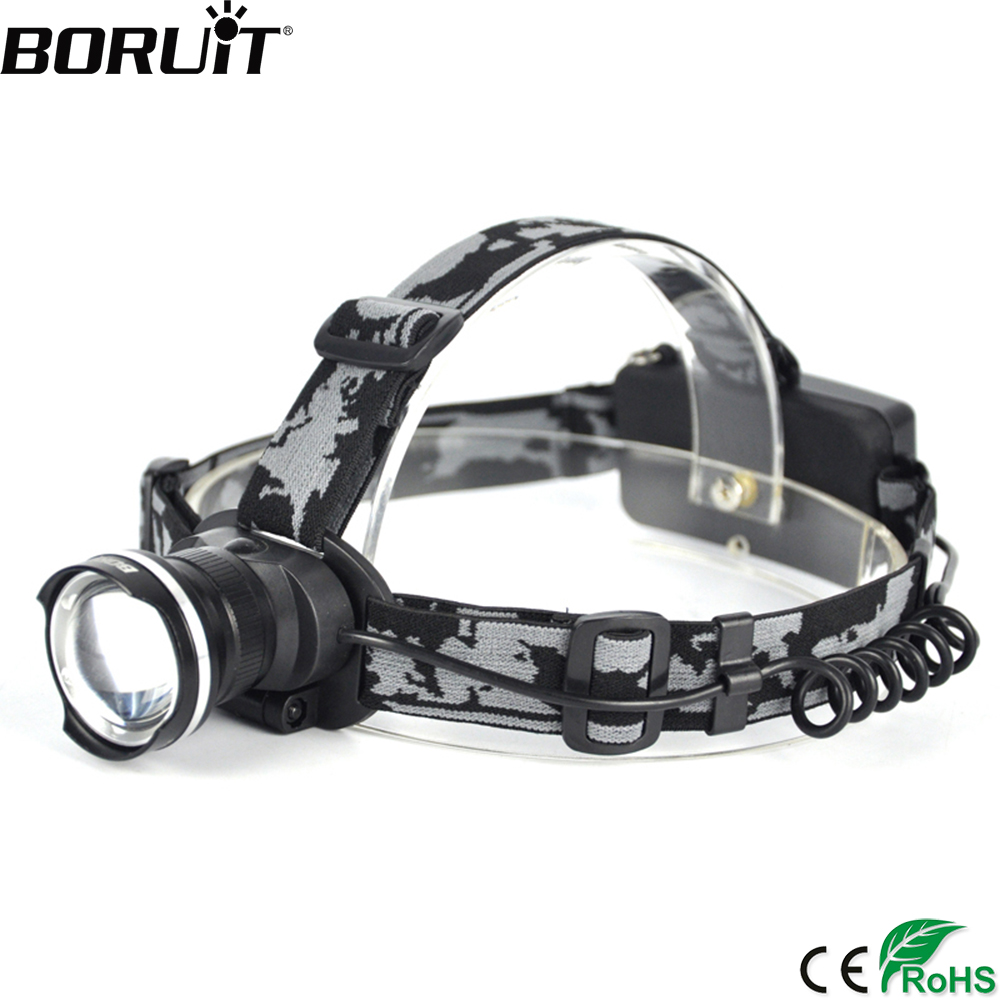 BORUIT RJ 2190 3 Mode T6 LED Headlamp Zoomable Headlight 18650 Battery Flashlight Waterproof Camping Fishing