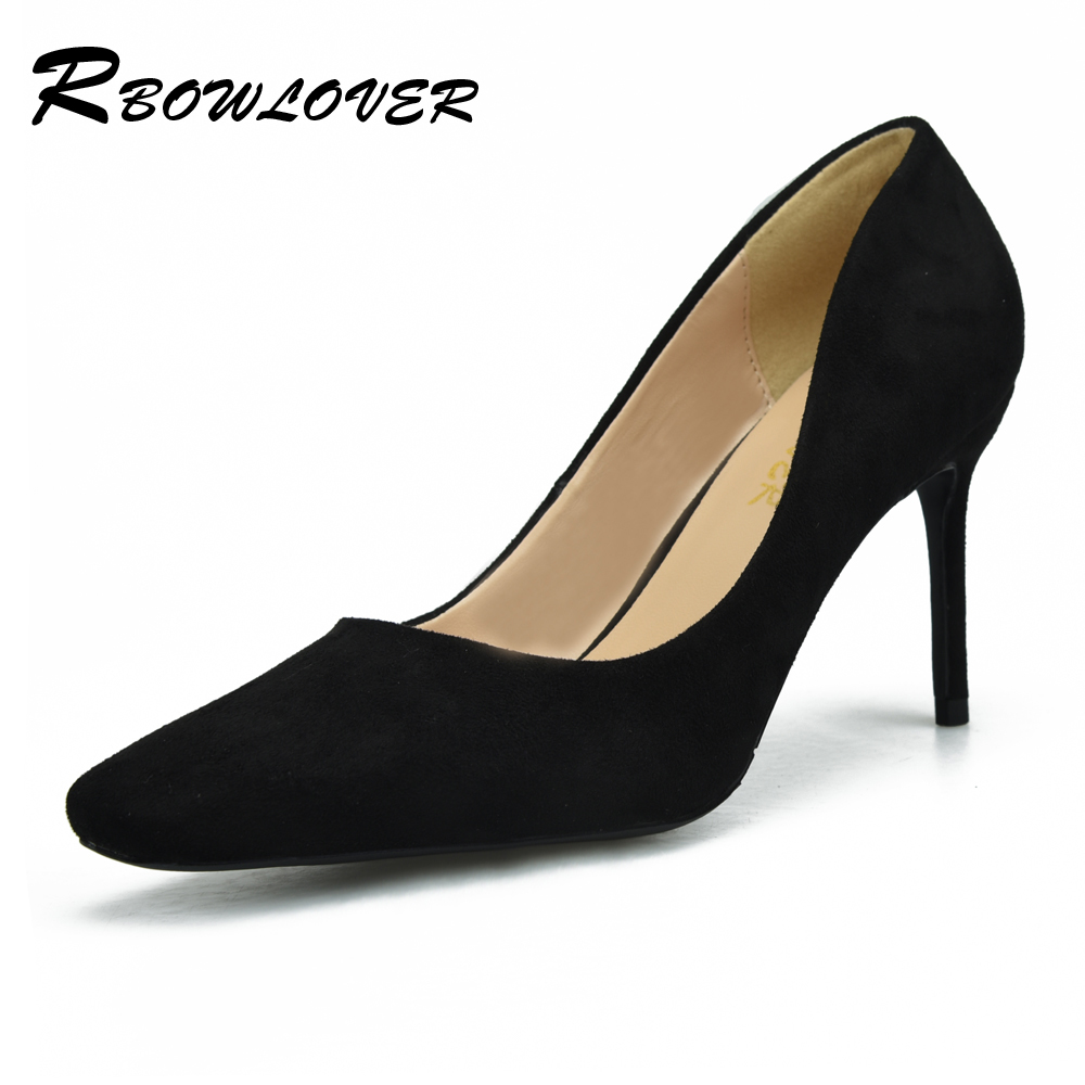 RBOWLOVER Sexy Women Pumps Suede Leather Square Toe Pumps 8 CM Thin High Heels OL Party Wedding Shoes Big size 33-43 classic fashion women s club banquet wedding shoes sexy suede zipper 17 cm in stiletto heels