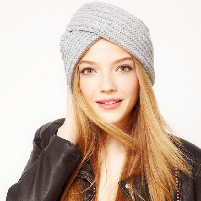 Hot New 2017 Women S Winter Hats Cotton Knitted Stripe Turban Elastic Cap  Beanie Women Ladies Warm 428adb49338