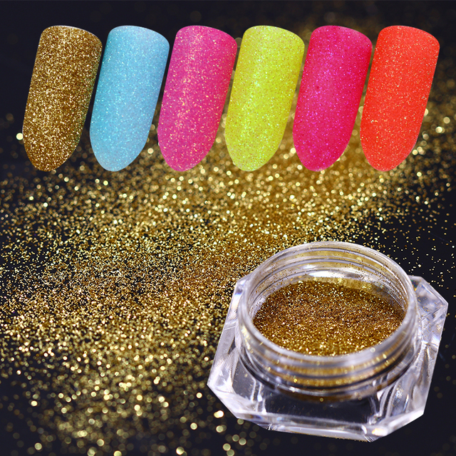 6 Colors Gold Sliver Ab Color Nail Pigment Nail Glitter Powder
