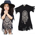 Dresses New Boho Baby Kids Children Girl Summer Clothing Sleeve Casual Tassel Beachwear Brand Dress Clothes Summer