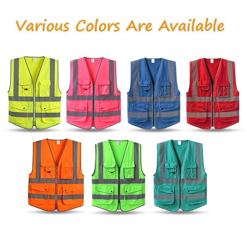 High Zipper Front Safety Vest Reflector Strips Safety Vest With Pockets