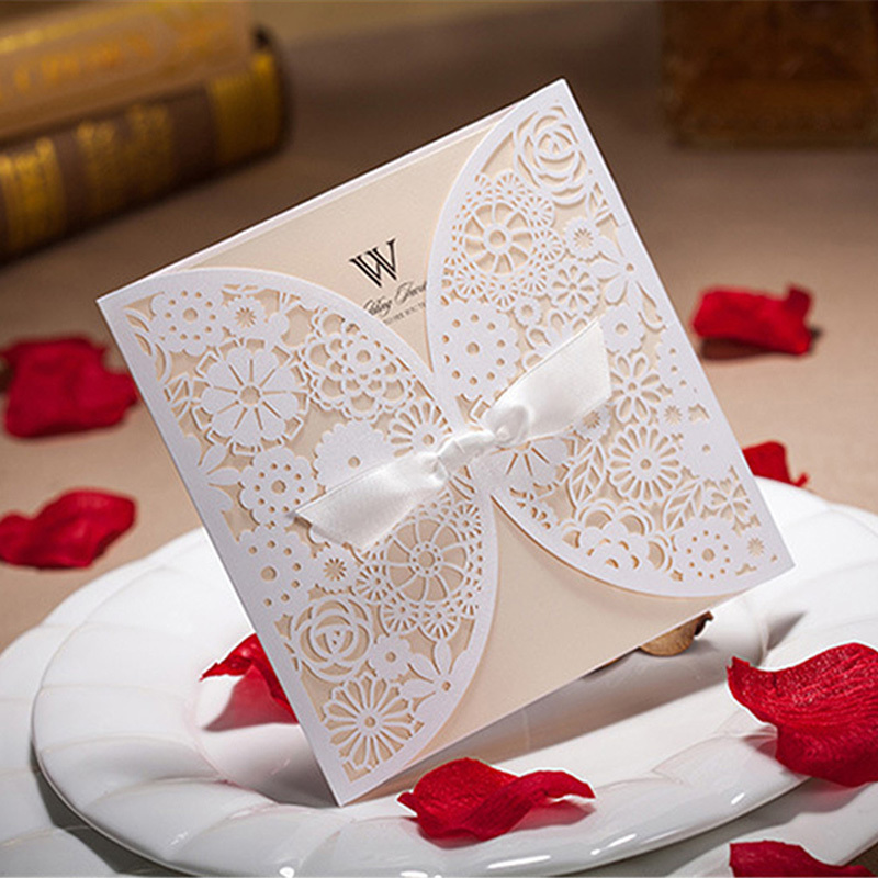 H&D 1PC Laser Cut Wedding Card White Vintage Bowknot Birthday ...