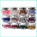 2017 New  Supplies 12 Beauty Colors Uv Nail Gel Glitter Refinement Sequins Glass Glue Wholesale