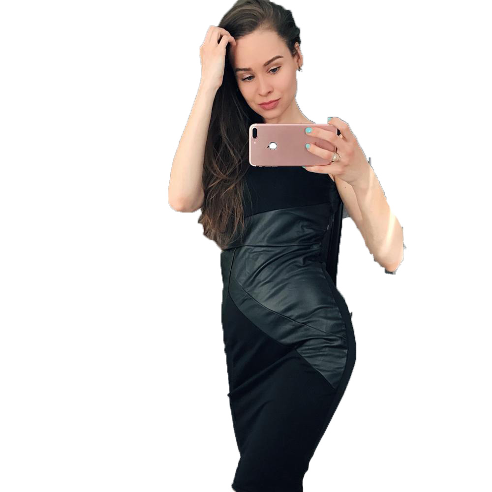 Women PU Leather Splice O-Neck Sleeveless Slim Midi Party Dress Lady Black