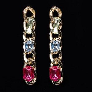 Женские серьги-подвески с кристаллами YFJEWE, яркие и элегантные свадебные длинные серьги с большой цепочкой, Новое поступление # E032