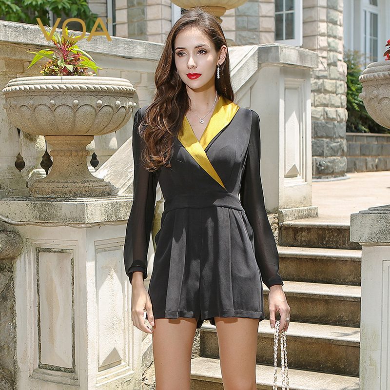 VOA Long Sleeve Simple Black Heavy Silk Jumpsuits Plus Size Brief Casual Sexy V Neck Slim Women Jumpsuit Summer KSH00901