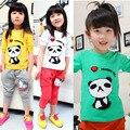 1 UNIDS Nuevo Algodón Niñas camisetas Tops Niños Camiseta Del Bebé de manga Larga camisetas Blusa de Dibujos Animados Panda Lindo impresa