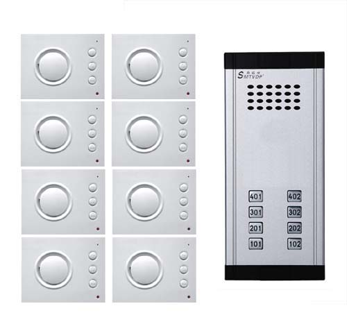 SMTVDP Intercom System Direct Press Key Audio Door Phone for 8 apartments, 4-wired Audio Doorphone With Hand-free Indoor Units