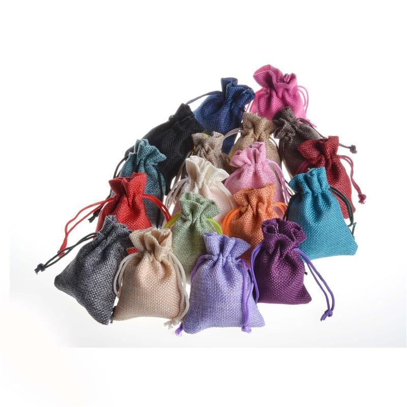 Handmade Jute Burlap Hessian Jewelry Packaging Drawstring Bag Candy Wedding Party Sack Favor Gift Bag Mix Color Random