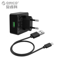 ORICO Phone Charger Quick Charge 3.0 18W Fast USB Charger for iPhone Samsung Xiaomi Huawei with Free Micro USB Cable