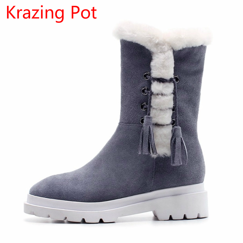 Superstar Cow Suede Tassel Leather Boots Platform Zipper Med Heels Rivets Snow Boots Round Toe Mid-calf Boots for Women L2f7 stylish women s mid calf boots with suede and platform design
