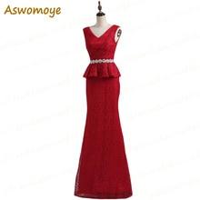 Aswomoye Русалка вечернее платье длинное кружевное свадебное вечернее платье с поясом из бисера с v-образным вырезом платье для выпускного вечера vestido de festa