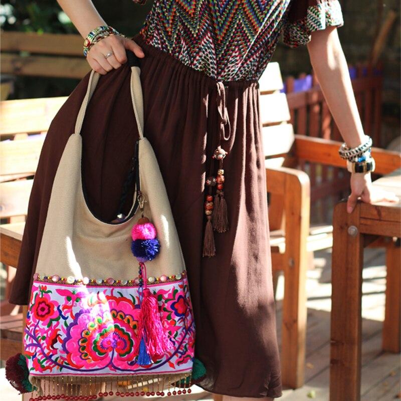 Sacs Main Toile Brodé Face À Double Beige Ethniques D'épaule Occasionnel Tribales Gland Arrivée Femmes Exotique Nouvelle qwnvTCHx