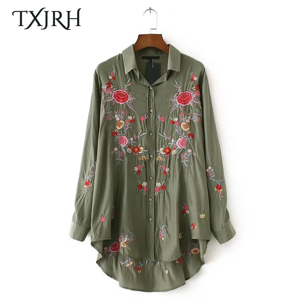 Txjrh Fashion Rose Floral Print Embroidery Blouse Long Sleeve Turn