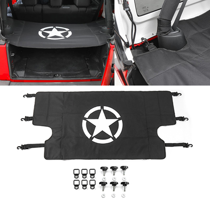 For Jeep Wrangler 07 17 Car Rear Trunk Shade Cargo Cover Shield Luggage Security Shade Sticker
