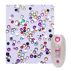 Image 5 - 3D Nail Art Rhinestones Colorful Mixed Size Nail Studs  Round Flat Bottom Shiny Nail Stones Clear Nail Art Decoration